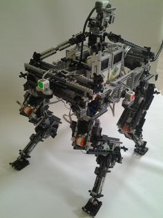4 legs robot,all lego ,12 motors 4 ev3 mindstorm., 4 ir sensors and one gyro software:  FK  based