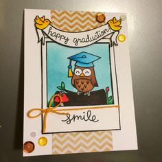Lawn Fawn Graduation card, critters in the forest, say cheese, Bannerific, and happy everything stamp set used.