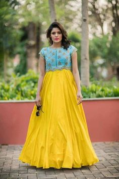 Anarkali gown by Issha studio Long Gown Dress, Frock Dress, Saree Dress, Long Dresses, Dress Prom, Full Gown, Long Gowns, Baby Dresses, Prom Dresses