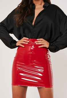 Discover the latest skirts and trends with Missguided. From maxi skirts to midi, mini and skater skirts. Red Leather Mini Skirt, Red Mini Skirt, Leather Skirts, Stage Outfits, Night Outfits, Party Outfits, Dress Outfits, Dresses, Plastic Skirt