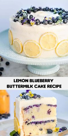 Moist and velvety lemon cake with juicy blueberries and tangy cream cheese frosting! The buttermilk in this cake recipe makes the lemon cake extra tender. The perfect dessert for a summer BBQ! Blueberry Desserts, Blueberry Cake, Lemon Desserts, Köstliche Desserts, Delicious Desserts, Baking Recipes, Cake Recipes, Dessert Recipes, Mini Cakes