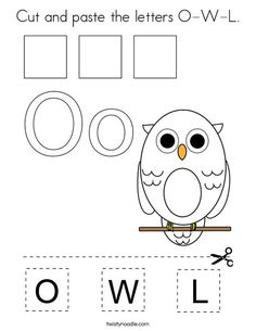 Cut and paste the letters O-W-L Coloring Page - Twisty Noodle Preschool Color Activities, Bible Activities For Kids, Numbers Preschool, Bible For Kids, Calendar Worksheets, Abc Worksheets, Cut And Paste Worksheets, School Projects, School Ideas