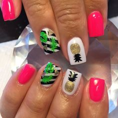 Want some ideas for wedding nail polish designs? This article is a collection of our favorite nail polish designs for your special day. Cute Summer Nail Designs, Diy Nail Designs, Short Nail Designs, Nail Polish Designs, Summer Design, Nails Design, Bright Summer Nails, Cute Summer Nails, Pineapple Nails