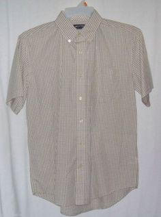 Puritan Shirt Brown White Check Size med (38/40) Poplin Cotton New #Puritan #ButtonFront