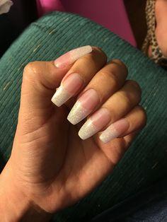Soft Gold Glitter Nail Set. Coffin nails.