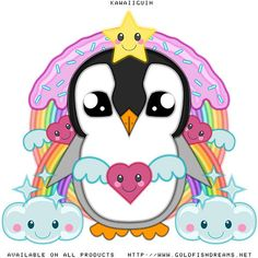 Kawaiiguin, Mr Penguin, Cute, Adorable, Kawaii, Anime, Penguin, Goldfishdreams, Sparkles, Sprinkles, Icing, Stars, Clouds, Hearts, Rainbows, Cartoon, T-Shirt Design, Bird, Big Eyes,