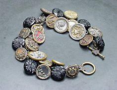 Vintage Button Bracelet Brass and Black Floral by 2Good2BeThrough