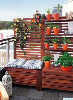 balcony-design-privacy-protection-bench-one-plants # balcony-privacy protection balcony -. - balcony-design-privacy-bench-one-plants # balcony screen protector balcony-design-privacy-bench-one - Outdoor Spaces, Outdoor Living, Outdoor Decor, Ikea Outdoor, Outdoor Storage, Small Balcony Decor, Balcony Ideas, Apartment Balconies, Terrace Garden