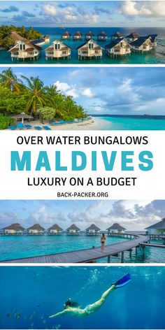How to stay in an over water bungalow in the Maldives while on a budget. While not cheap, this affordable luxury option won't break the bank and is perfect whether traveling on a honeymoon or just a normal holiday / vacation. This all-inclusive resort is Honeymoon Destinations All Inclusive, Dream Vacations, Vacation Spots, Travel Destinations, Honeymoon On A Budget, All Inclusive Resorts Bali, Delicious Destinations, Honeymoon Pictures, Honeymoon Places