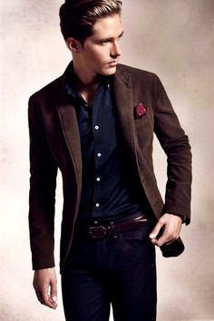 Shop this look for $292: http://lookastic.com/men/looks/blazer-and-pocket-square-and-longsleeve-shirt-and-belt-and-jeans/386 — Chocolate Blazer — Burgundy Polka Dot Pocket Square — Navy Longsleeve Shirt — Brown Leather Belt — Navy Jeans