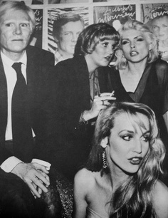 Andy Warhol, Lorna Luft, Debbie Harry and Jerry Hall at Studio 54
