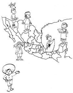 Pinto Dibujos: Mapa de México con sus trajes típicos para colorear