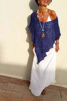 Loose knit poncho, blue summer poncho, mediterranean blue, gifts for her, women poncho, beach cover up,