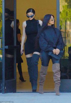 Kim Kardashian and Kylie Jenner stun in spandex Yeezy outfits Kylie Baby, Kim And Kylie, Kardashian Style, Kardashian Jenner, Travis Scott, Yeezy Fashion, Women's Fashion, Rapper, Yeezy Outfit