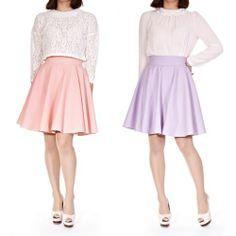 Womens Spring Pastel Color Retro High Waist A Line Flared Knee Length Skirt