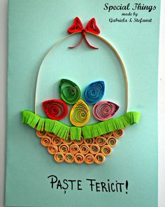 Card Name: Easter Basket *** Card Code: * - Quilling Paper Crafts Arte Quilling, Paper Quilling Cards, Origami And Quilling, Paper Quilling Designs, Quilling Paper Craft, Quilling Patterns, Quilling Ideas, Quilling Christmas, Handmade Card Making