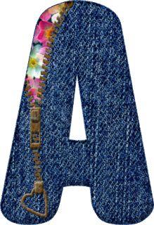 Alfabeto Decorativo: Alfabeto - Jeans Azul 2 - PNG - Letras - Maiúscula...