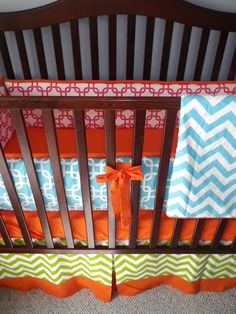 Custom Crib Bedding You Design   Bumper and Bedskirt in Bright pink and white. $229.00, via Etsy.