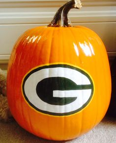Green Bay Packers painted pumpkin