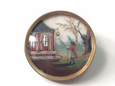 GORGEOUS 18TH C. REVERSE PAINTING BUTTON - 1 1/2""