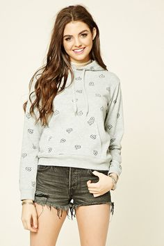 Speech Bubble Print Hoodie   Forever 21 - 2000236041