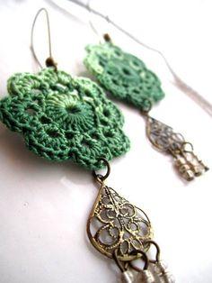 boemia+crochet   Chandeliers – Bohemian crochet flower earrings – a unique product ...