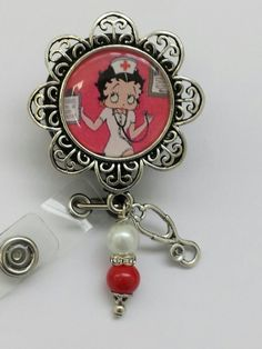 Nurse Betty Boop and Nurses prayer ID badge holder with alligator clip by…