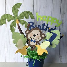 Excited to share the latest addition to my shop: Boy's Monkey birthday party centerpiece, boy's Safari birthday boy's birthday safari animals centerpiece. 1 Year Birthday Party Ideas, Wild One Birthday Party, Birthday Party Centerpieces, Safari Party Centerpieces, Monkey Centerpiece, Ideas Party, Monkey First Birthday, Monkey Birthday Parties, Baby Boy 1st Birthday