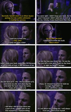 """#Arrow 5x20 """"Underneath"""" - """"Chase, he showed me when he held me hostage, that I didn't do what I did to be a hero. I did what I did because there was a part of me, a bigger part of me that enjoyed it... I enjoyed killing"""" - #OliverQueen #FelicitySmoak"""
