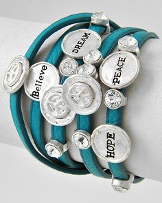 Burnished Silver Tone / Turquoise Leatherette / Clear Rhinestone / Lead Compliant / Peace Theme / Wrap Bracelet