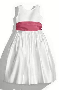 Us Angels White Tank Dress with Satin Sash (Toddler, Little Girls & Big Girls) available at #Nordstrom