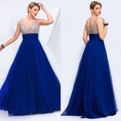 V Neck Deep Back Handmade Long Evening Dress Contrast Color
