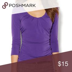 NY & Co. Pleated 3/4 Sleeve Shirt Bright purple pleated top. Great for work! New York & Company Tops Blouses