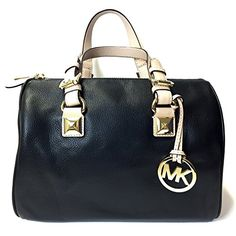 Women's Top-Handle Handbags - Michael Kors Pebbled Leather Grayson Medium Satchel Handbag Purse in Black *** Want to know more, click on the image.