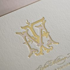 "letterpress monogram | Hand drawn monogram with a gold foil stamped ""F"" interlocking with a ..."