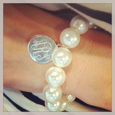 Monogram Pearl Bracelet with Sterling Silver Charm (46)