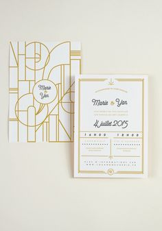 Gold art deco wedding invitations with clean lines for vintage weddings, fall weddings, spring weddings Gala Invitation, Art Deco Wedding Invitations, Invitation Design, Wedding Stationery, Motif Art Deco, Art Deco Wedding Theme, Wedding Art, Gold Wedding, Packaging