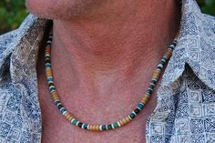 Sexy Seminole - 20 In. Necklace -  Sea Shell, Chrysocolla & Wood - Handmade Gemstone Jewelry Gift under 40 for Men, Women, Teens
