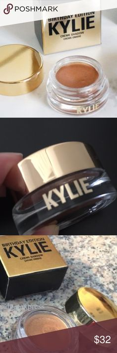 Kylie Birthday Edition Copper eye shadow NEW AUTH Kylie Birthday Edition Cream eyeshadow in beautiful copper color. Collectors Edition Gold infused in honor of Kylie Jenners 19th Birthday this us a commemorative item never to be released again. New AUTH Kylie Kylie Cosmetics Makeup Eyeshadow