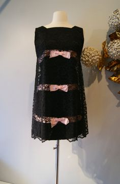 60s Dress // Vintage 60s Lace Mini Dress Pink and Black Baby Doll With Bows