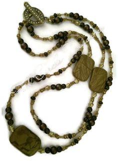 Gold Jasper Necklace - Brown Jasper Necklace - Women's Necklace - Double Strand Necklace - Handmade Jasper Necklace - Natural Stone Necklace