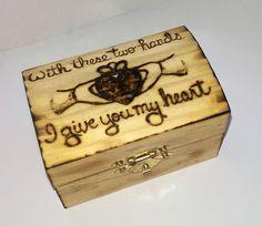 Personalized Rustic Keepsake Wedding Ring  Box  Rustic Claddagh Ring Bearer Alternative St Patricks Day Irish Gift