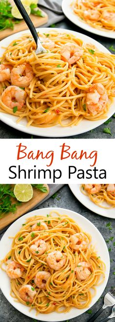Bang Bang Shrimp Pasta. An easy meal ready in 30 minutes, featuring a creamy, no-cook sauce.