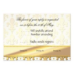 RSVP Gold Wedding Anniversary, Fleur de Lis Personalized Invite so please read the important details before your purchasing anyway here is the best buyDiscount Deals          	RSVP Gold Wedding Anniversary, Fleur de Lis Personalized Invite today easy to Shops & Purchase Online - trans...