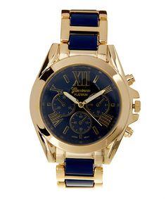 $16.99 Navy & Goldtone Color Link Bracelet Watch #zulily #zulilyfinds