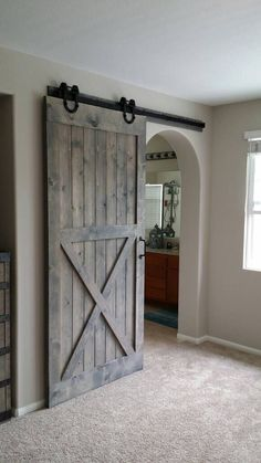 Half X Sliding Barn Door by PlankandChisel on Etsy https://www.etsy.com/listing/398408589/half-x-sliding-barn-door Closet Barn Doors, Diy Sliding Barn Door, Sliding Door Closet, Diy Barn Door Plans, Barn Door Pantry, Interior Sliding Barn Doors, Double Barn Doors, Interior Glazed Doors, Glass Closet Doors