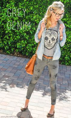 GREY DENIM | BLONDER AMBITIONS. casual california fashion... layer a denim button-down over a statement top and grey skinny jeans. Throw on some wide-rimmed geek glasses, a thin belt, and pointed toe flats for an easy daytime look.