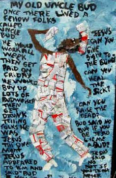 """""""Uncle Bud"""" Mary Proctor, 11x19"""" paint, Budweiser Cans on board"""