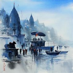 Buy Indian Contemporary Art Online From Art Gallery, Mumbai, India. Watercolor Landscape Paintings, Landscape Art, Watercolor Paintings, Watercolour, Rishikesh, Varanasi, Indian Contemporary Art, Ganesha Art, Krishna Painting