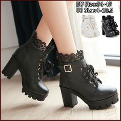 Black Mid Calf Boots, Goth Shoes, Women's Shoes, Kawaii Shoes, Chunky High Heels, Cute Boots, Casual Boots, Lace Up Shoes, Lace Up Ankle Boots